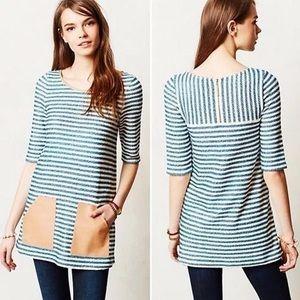 Postmark Striped Faux Leather Pocket Dress